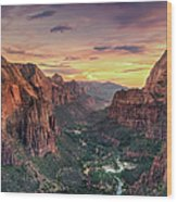 Zion Canyon National Park Wood Print