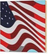 50 Star American Flag Closeup Abstract 7 Wood Print