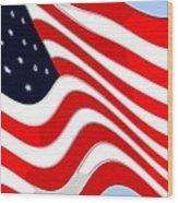 50 Star American Flag Closeup Abstract 8 Wood Print