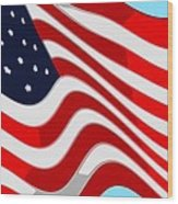 50 Star American Flag Closeup Abstract 9 Wood Print by L Brown