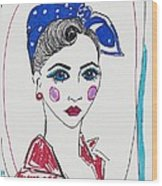 50's Fashion Girl Wood Print