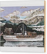 North To Alaska On A 53 Foot Classic Yacht  Wood Print