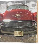56 Red Cadillac Wood Print