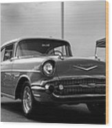 57 Chevy Bel-aire In Bw Wood Print