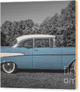 57 Chevy Black And White And Color Wood Print