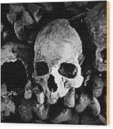 Skulls And Bones In The Catacombs Of Paris France Wood Print