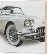 59-60 Corvette White On White Wood Print