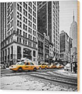 5th Avenue Yellow Cab Wood Print