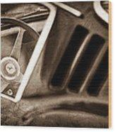 1966 Ferrari 275 Gtb Steering Wheel Emblem Wood Print