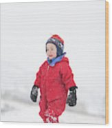 A Two Year Old Boy Plays In A Snowy Wood Print
