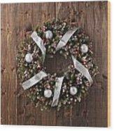 Advent Christmas Wreath Decoration Wood Print
