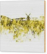 Amsterdam Skyline In Watercolor On White Background Wood Print