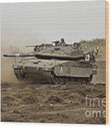 An Israel Defense Force Merkava Mark Iv Wood Print