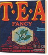 Antique Food Packaging Label. Wood Print