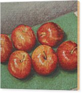 6 Apples Washed And Waiting Wood Print