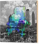Atlanta Map And Skyline Watercolor Wood Print
