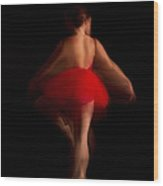 Ballet Dancer In Red Tutu Wood Print