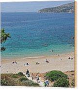 Beach In Legrena Wood Print