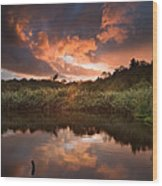 Beautiful Sunset Over Autumn Fall Lake With Crystal Clear Reflec Wood Print