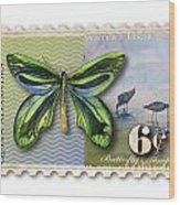 6 Cent Butterfly Stamp Wood Print by Amy Kirkpatrick