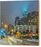 Charlotte City Skyline  Wood Print