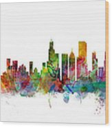 Chicago Illinois Skyline Wood Print