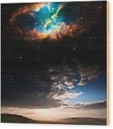 Countryside Sunset Landscape With Planets In Night Sky Elements  Wood Print
