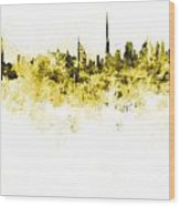 Dubai Skyline In Watercolour On White Background Wood Print