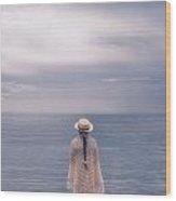 Girl At The Sea Wood Print