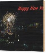 Happy New Year Greeting Card - Fireworks Display Wood Print