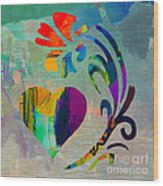 Heart And Flowers Wood Print