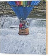 Hot Air Balloon Over The Middle Falls At Letchworth State Park Wood Print