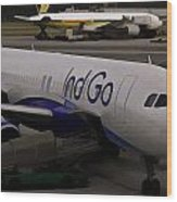 Indigo Aircraft Getting Ready In Changi Airport Wood Print