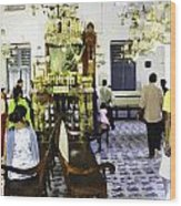 Inside The Historic Jewish Synagogue In Cochin Wood Print