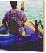 Lady Sleeping While Boatman Steers Wood Print