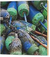 Lobster Buoys Wood Print