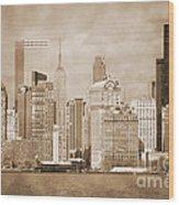 Manhattan Buildings Vintage Wood Print