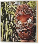Maori Carving Wood Print by Les Cunliffe