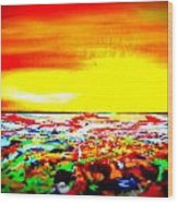Modern Abstract Painting Original Canvas Art  Sunset By Zee Clark Wood Print