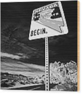 Nevada Scenic Byways Begin Signpost On The White Domes Road Valley Of Fire State Park Nevada Usa Wood Print