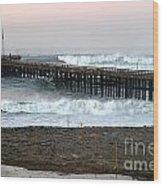 Ocean Wave Storm Pier Wood Print