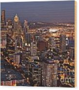 Seattle Skyline With Mount Rainier And Downtown City Lights Wood Print