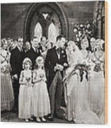 Silent Film Still: Wedding Wood Print