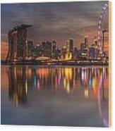 Singapore City Wood Print