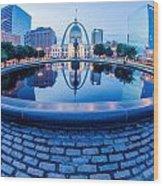 St. Louis Downtown Skyline Buildings At Night Wood Print