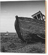 Stunning Black And White Image Of Abandoned Boat On Shingle Beac Wood Print