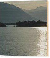 Sunshine Over An Alpine Lake Wood Print