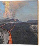 Tolbachik Volcano Erupting Kamchatka Wood Print