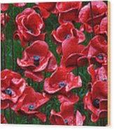 Tower Of London Poppies Wood Print