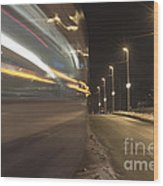 Tram At Night Wood Print